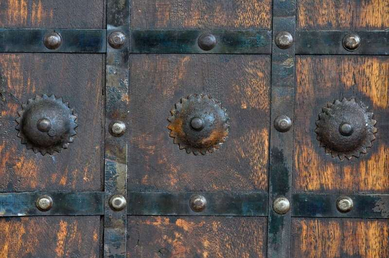 Rusty metal on a door