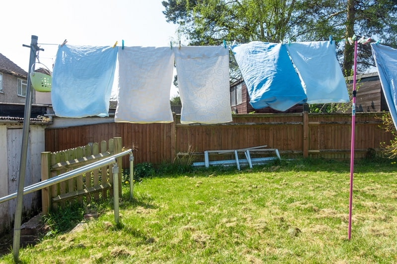 Washing line in small garden