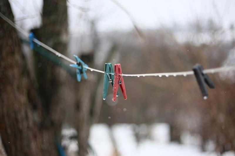 Clothes Pegs On Line In Winter