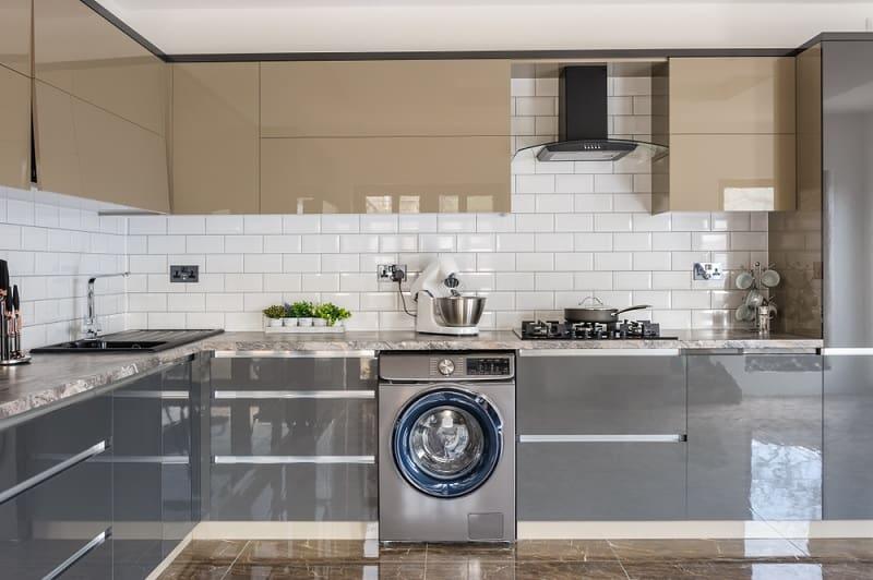 Integrated washing machine in kitchen