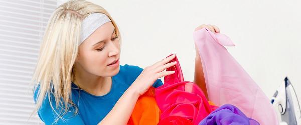 Woman untangling laundry