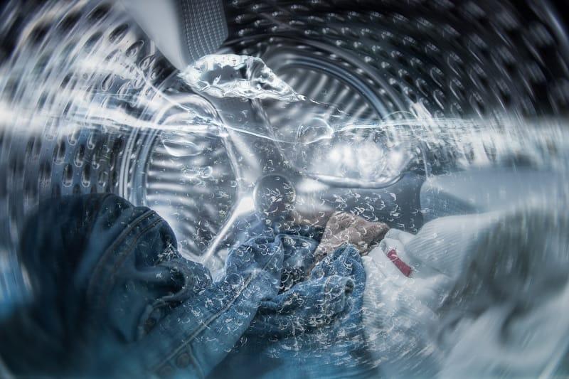 Internal view of water in washing machine