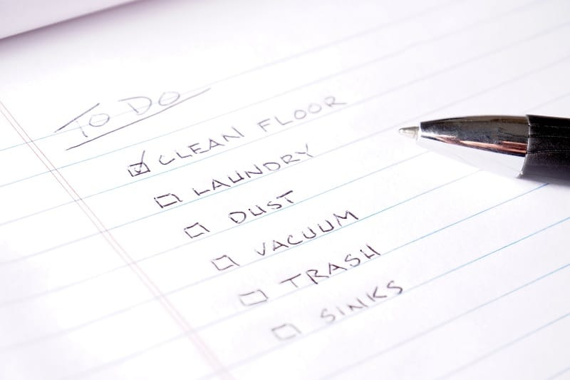 Cleaning to do list