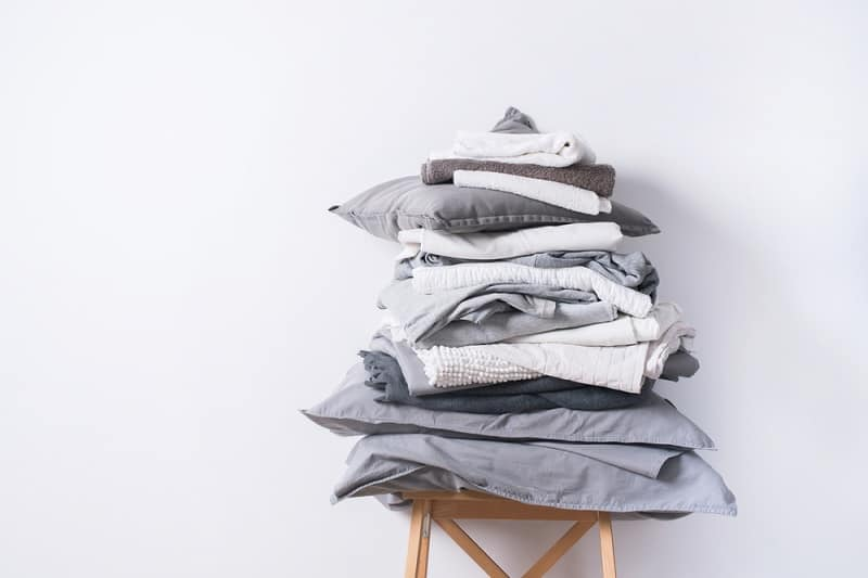 Pile of grey laundry