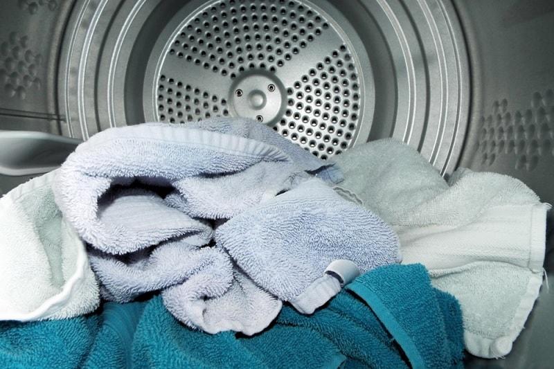 Towels inside tumble dryer