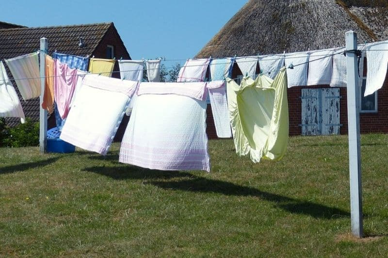 Laundry outside on the washing line