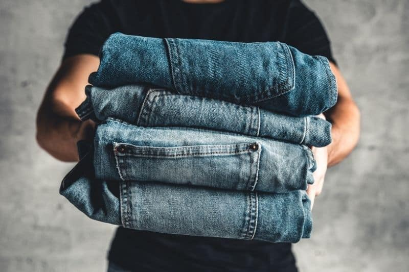 Pile of Heavy Denim Jeans