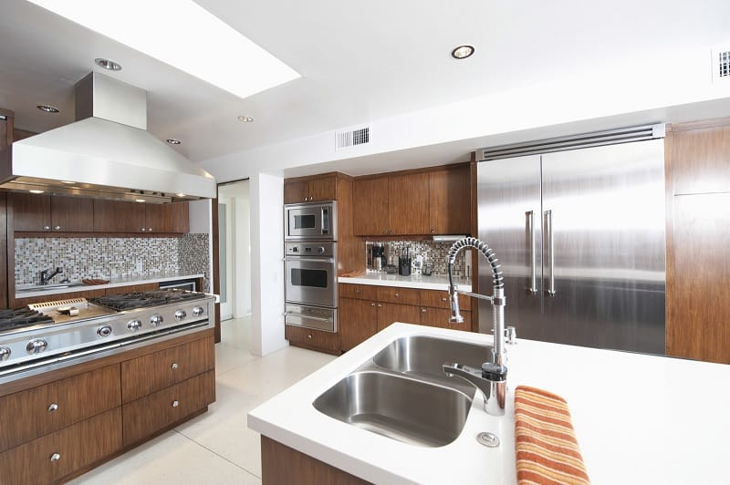 Kitchen with stainless steel surfaces