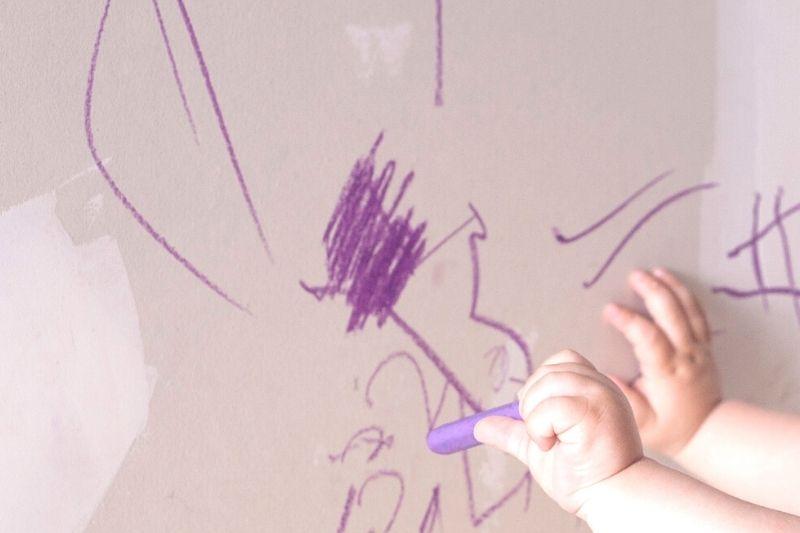 Kid Drawing on Walls