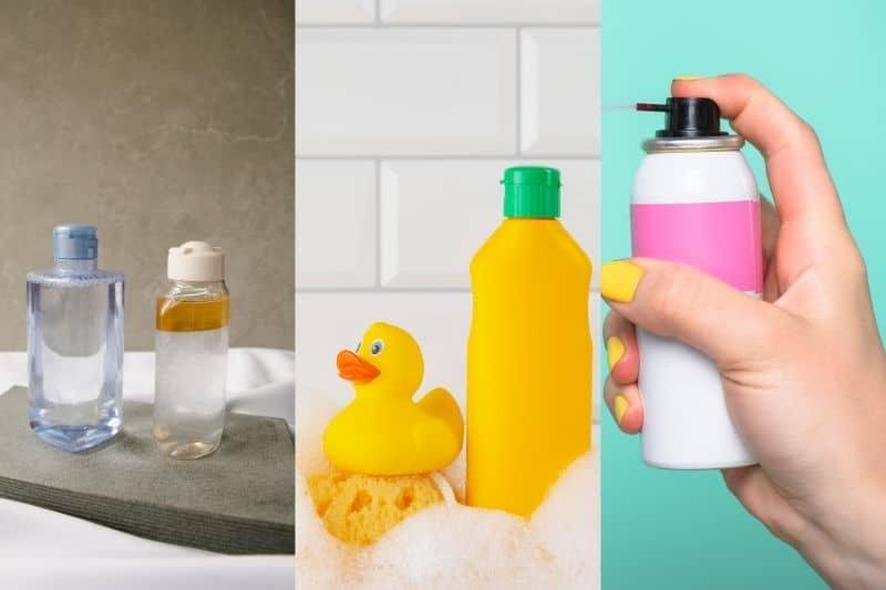 Astringent, baby shampoo and hairspray