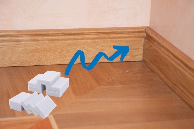 Cleaning Skirting Board with Magic Eraser