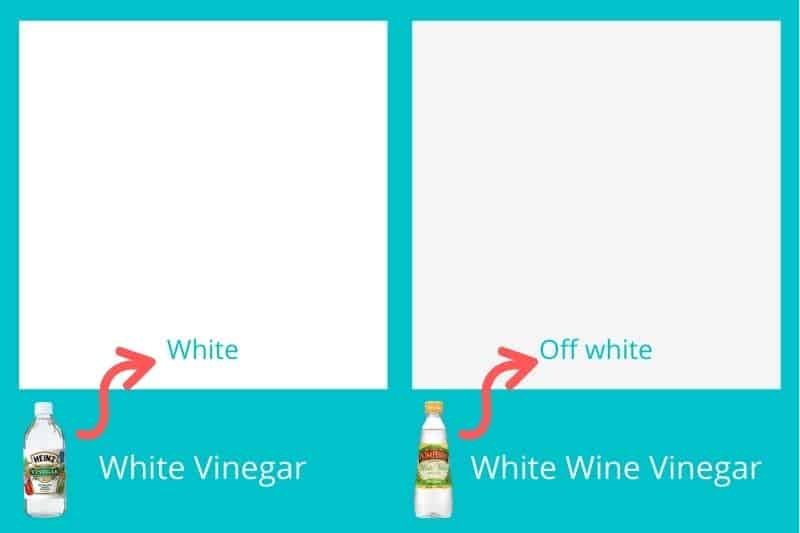 White vinegar vs white wine vinegar colour
