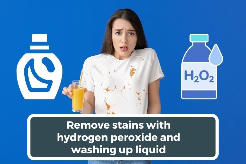 Remove stains with hydrogen peroxide and washing up liquid