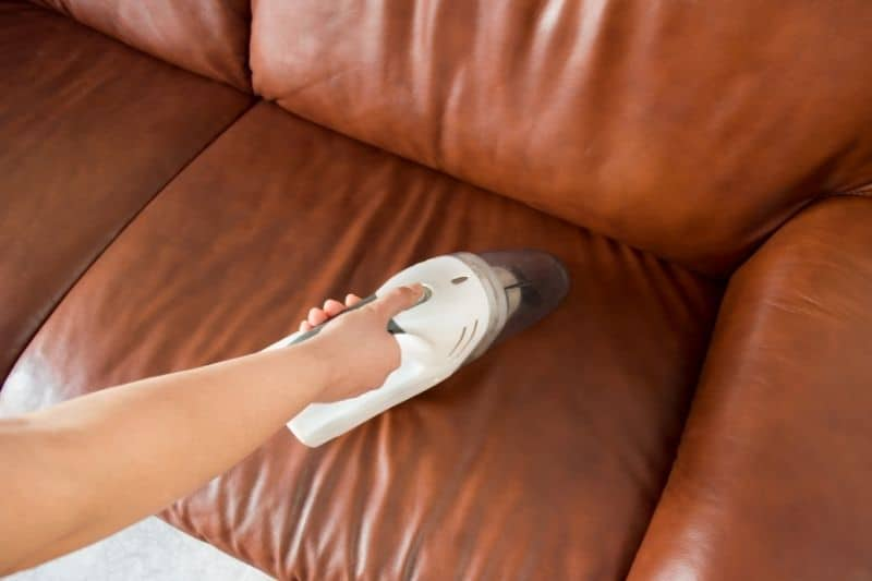 Vacuuming Unprotected Leather Sofa