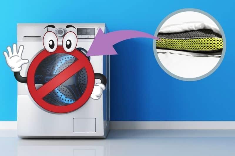 Do not machine wash pillows