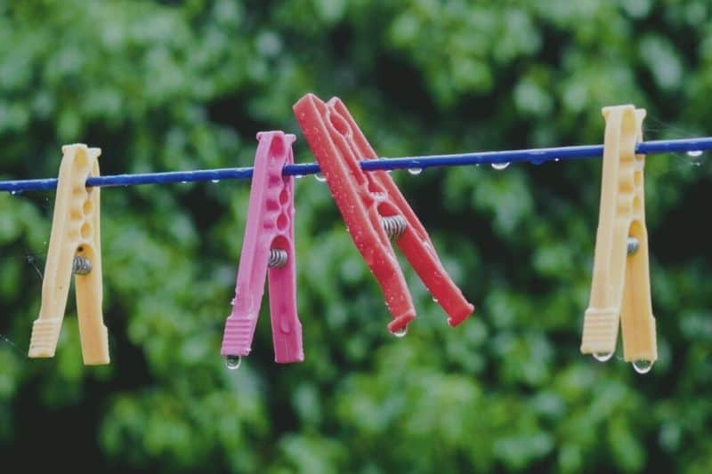 Pegs on Washing Line in the Rain