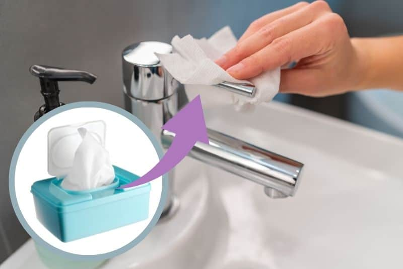 Wiping Chrome Tap with Baby Wipes