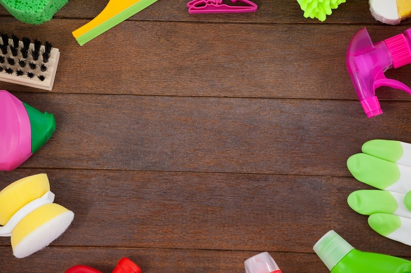 Wooden floor and cleaning supplies