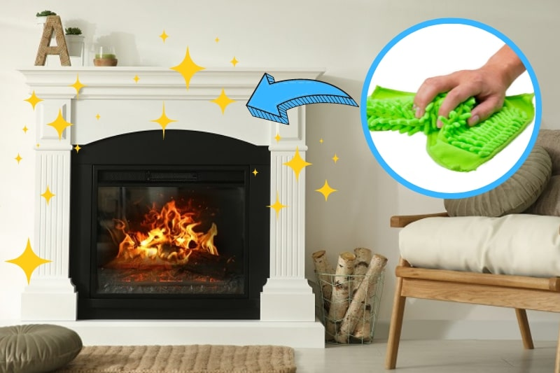 using microfiber cloth to wipe the fireplace down