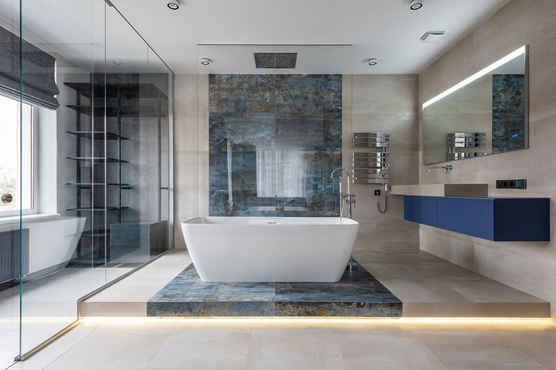 wet room with freestanding tub
