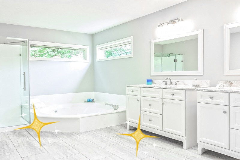 a white, simple and clean looking wet room